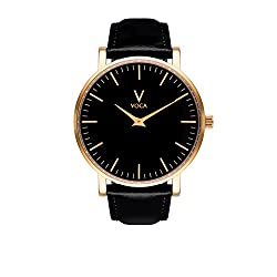 Tempus 40mm Black and Gold with Black leather strap