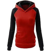 Hanomes Damen pullover, Fashion Damen Farbblock Tasche Casual Langarm Pullover Sweatshirt Bluse preisvergleich bei billige-tabletten.eu