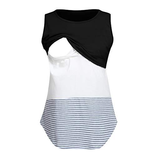 Amphia - Frauen-Mamma-schwangeres Krankenpflege-Baby-Mutterschaftsärmel gestreifte Blusen-Kleidung - Ärmelloses, multifunktionales gestreiftes Oberteil für Schwangere (Krankenpflege Gestreifte Kostüm)