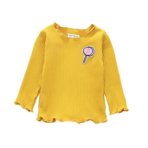 Mädchen Langarmshirts Kleinkind Kinder Einfarbiges Geripptes Oberteile Rundhalsausschnitt Langarm T-Shirts Herbst Winter Freizeit Tops (Gelb, 80)