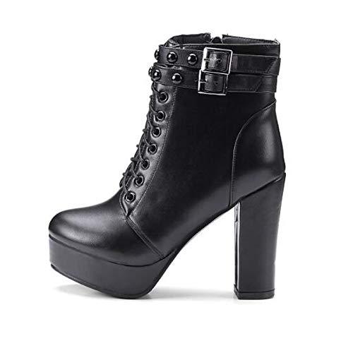IWxez Damenmode Stiefel PU (Polyurethan) Herbststiefel Chunky Heel Closed Toe Booties/Stiefeletten Schwarz, Schwarz, US11 / EU43 / UK9 / CN44 Pu Chunky Heel