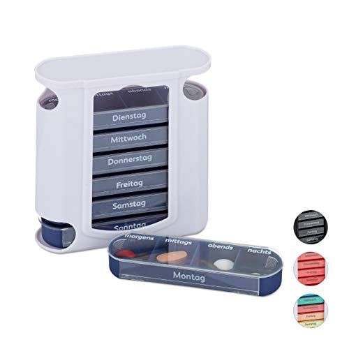 Relaxdays Pillendose 7 Tage, wöchentliche Tablettenbox, 4 Fächer, morgens, mittags, abends, nachts, Pillenbox, weiß/blau