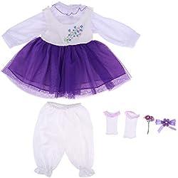 F Fityle Mini Falda con Pantalones Calcetines y Accesorios de Pelo de Muñeca 20 Pulgadas - 22 Pulgadas Muñeca Bebé Renacida