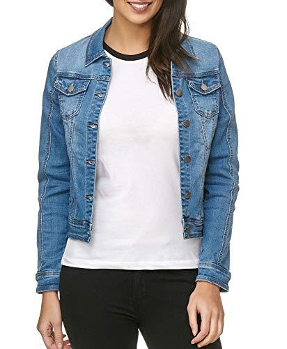 ArizonaShopping - Jacken Damen Jeans Jacke Basic Denim Übergangsjacke Used Kurz D1795, Farben:Blau, Größen:L -