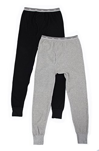Heather Waffel (Fruit of the Loom Herren 2 Pack Classic Midweight Waffle Thermal Bottoms Unterbekleidung, Hose, Light Grey Heather/Black Soot, X-Large (erPack 2)
