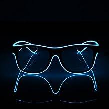 JIAMA Illuminare Gli Occhiali, Occhiali al Neon a Incandescenza a LED Occhiali a Filo EL per la Festa di Compleanno di Halloween (bianco)