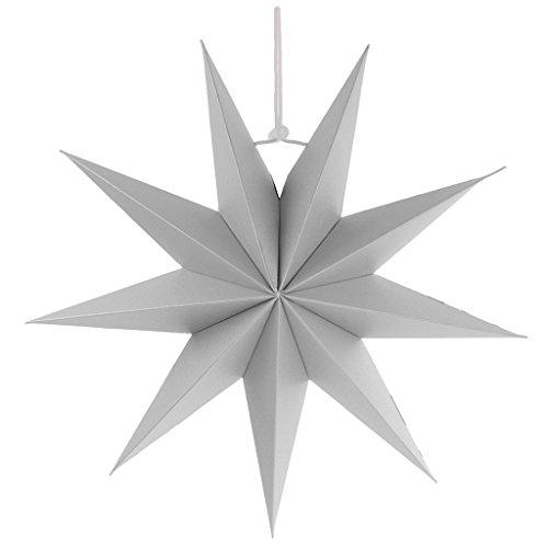 Sharplace Faltsterne, 30 cm 9 Zacken Weihnachtsstern Papiersterne für Weihnachtsbaum Christmasbaum - Grau, 30 (Halloween Dekor Tür)