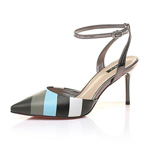 Modische Spitze Süße Lackleder Stilettos Schmale Riemenschnalle Multi-bonbonfarbe Sandalen Pumps Schwarz