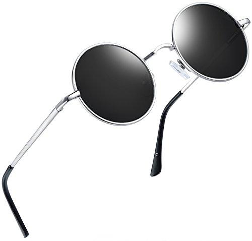 Joopin Runder Retro polarisierte Sonnenbrille Männer Frauen Vintage Steampunk Sonnenbrille(Silbergrau)