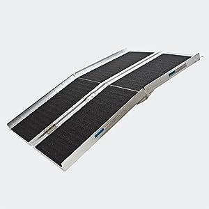 Wheelchair ramp double foldable aluminium non-slip 84x28.3x1.9 inches 600lbs (213.5x72x5cm 270kg)