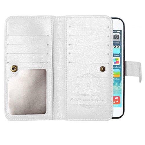 Wkae Case Cover iPhone 6 6s Case, Case Solide Couleur 9 Carte et titulaire de trésorerie Portefeuille Housse en cuir Case PU Housse de luxe Case Flip Stand pour iPhone 6 6s by DIEBELLEU ( Color : Rose White