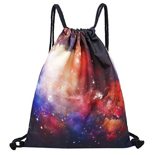 Mitlfuny handbemalte Ledertasche, Schultertasche, Geschenk, Handgefertigte Tasche,Mode Unisex Sternenhimmel Druck Tasche Rucksack Kordelzug Umhängetasche