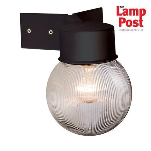 Saxby Endon Ware Ribbed Globe Modern Outdoor E27 IP44 Corner Bracket Wall Light in Black. 61241