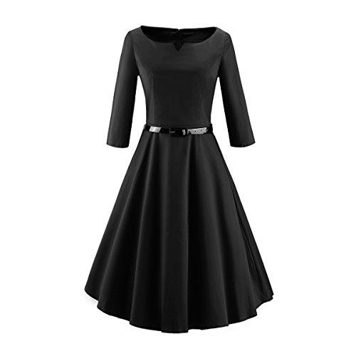 iLover Damen 3/4 Ärmel Retro Vintage Rockabilly 40s 50s 60s Kleid Partykleider Cocktailkleider (1940 Tanz Kostüme)