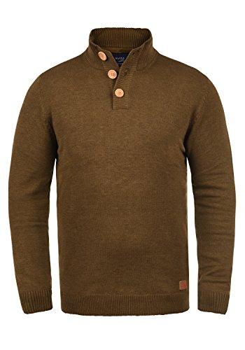 Blend Lenny Herren Strickpullover Troyer Feinstrick Pullover Mit Stehkragen Und Knopfleiste, Größe:XL, Farbe:Dark Mustard (75116)