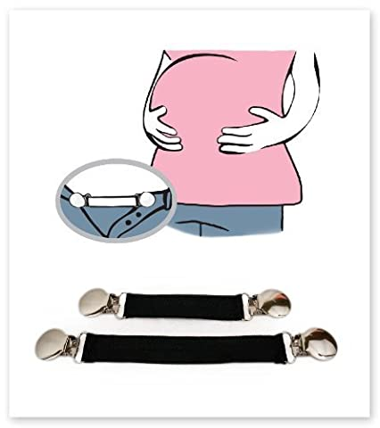 Belly Up! Bands--Maternity Waistband Extender, Pant Clips, Belly Bands, Pregnancy Expander Elastic (Set of 2) by