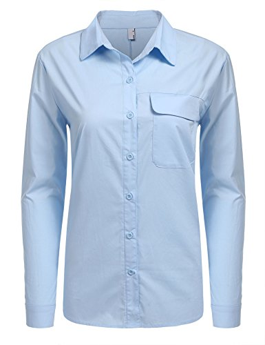 BeautyUU Damen Langarmhemd Regular Fit Damenbluse Arbeitshemd Freizeithemd Business Hemd Button Down Hemd Aus Baumwolle Hellblau XL (Baumwoll-arbeitshemd Button-down)