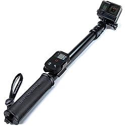 SANDMARC Pole - Black Edition: 42-103 cm Palo Impermeable (Selfie Stick) para GoPro Hero 6, Hero 5, Hero 4, Session, 3+, 3, 2 y HD - con clip remoto (montaje)