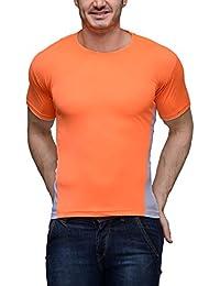 Scott Men's Jersey Round Neck Sports T-shirt - Orange - SDFN-OR-WH-XL