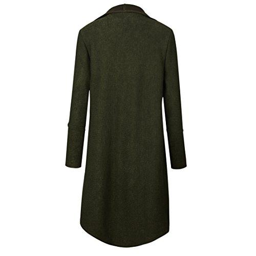 Newlife Autunno Donna Cardigan Aperto Davanti A Maniche Lunghe orlo Irregolare Giacca Breve Blazer Cappotto Jacket con Tasca Army Green