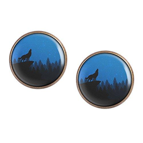 Mylery Ohrstecker Paar mit Motiv Wolf Berg Wald Himmel Blau Sterne bronze 16mm