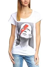 Eleven Paris - Camiseta con cuello de pico de manga corta para mujer