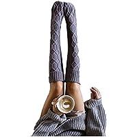 Uojack Moda femenina Sólido Cálido Largo Sobre la rodilla Lana Medias Muslo Calcetines altos Calcetines