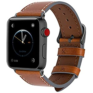 Fullmosa Für Apple Watch Armband 5 42mm(Series 4 44mm,Leder Ersatzband/Armbänder für iwatch Apple Watch 5/4/3/2/1,Uhrenarmband,Hellbraun + Dunkelgrau Schnalle