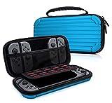 MyGadget Zubehör Tasche Aluminium Design Case für Nintendo Switch, Joy Con Controller & min. 10 NDS Spiele - Tragetasche Hardcase Schutzhülle in Blau