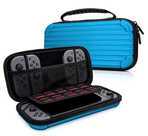 MyGadget Zubehör Tasche Aluminium Design Case für Nintendo Switch, Joy Con Controller & min. 10 NDS Spiele - Tragetasche Hardcase Schutzhülle in Blau - Blau Pokemon Ds