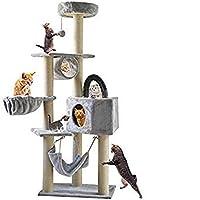Gluckluz Cat Tree Pet Scratching Post Scratcher Tower Pillar Condo Basket Furniture Perch Hammock Hemp Rope Pet Scratch with Hanging Toy for Satisfing Kitten's Natural Scratching Instincts (Grey)