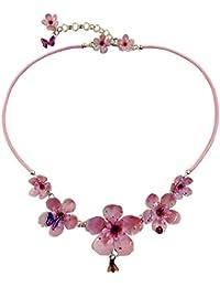 COLLANA FIORI DI CILIEGIO 04 - realizzata artigianalmente con fiori di ciliegio rosa e piccoli insetti serigrafati in smalti a cottura