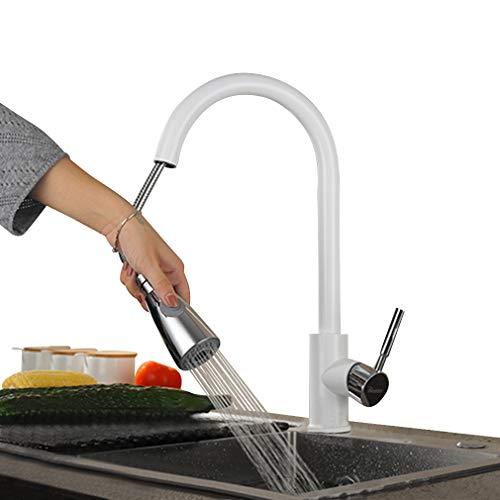 Grifo Cocina Blanco,360° Giratorio Grifo Fregadero 2 Funciones Caño Extraible,Monomando de Fregadero,PHASAT KW02E