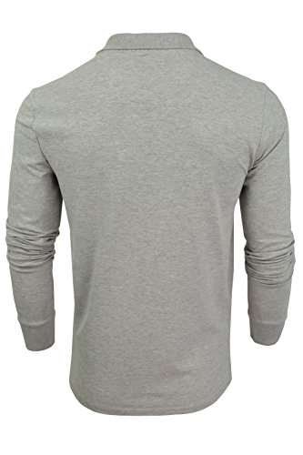 "Brave Soul - Herren Polo T-Shirt ""Lincoln"" Pique Lange Ärmel Light Grey Marl"