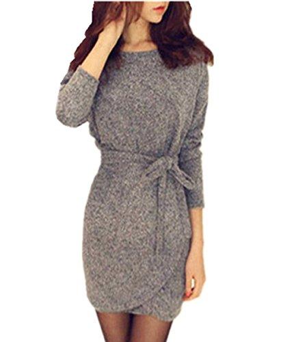 Kaigguly Damen Kleid Blusenkleid Oberteile Minikleid Shirt Blusen Jumper Schößchen Etui Herbst Kleider A-Linie Langarm