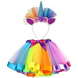VAMEI Rainbow Ribbon Tutu Skirt para niñas pequeñas Fotos de Disfraces de Ballet con Unicorn Flower Diadema para Little Pony Dress Up Fun (Azul)