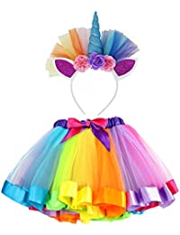 VAMEI Rainbow Ribbon Tutu Skirt para niñas pequeñas Fotos de Disfraces de Ballet con Unicorn Flower Diadema para Little Pony Dress Up Fun (Azul)