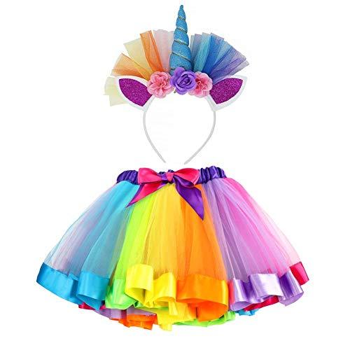 VAMEI TüTü Kinder Rainbow TüTü Rock für Kleinkind Mädchen Ballett Kostüm Fotos mit Einhorn Blume Stirnband für Little Pony Dress Up ()