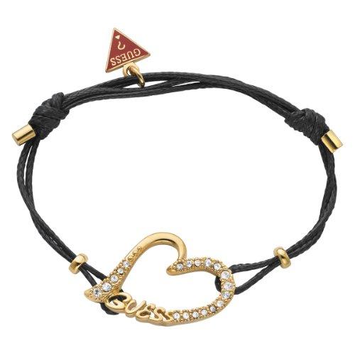 Guess bracciale da donna con cuore element cordoncino regolabile in acciaio inossidabile dorato nero cristalli ubb71297