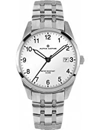 Alpha Saphir Herren-Armbanduhr XL Analog Quarz Edelstahl 379F