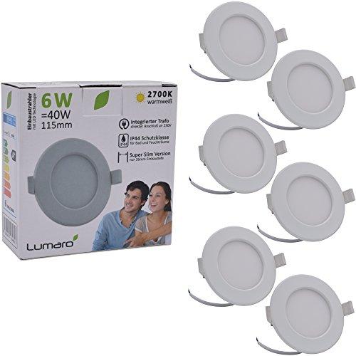 Lumaro® Slim Line Einbauspot IP44 für Bad und Feuchträume in weiß mit nur 26mm Einbautiefe! Deckenspot mit integriertem 6W 450lm LED Leuchtmittel (6 Stk.)