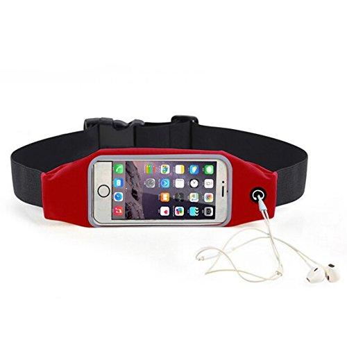 Evtech (tm) [Erweiterbar Hüfttasche Gürtel] Men and Women Sport, Laufen und Fitness Bewegung Sichtbare Touchscreen-Handy-Kopfhörer Tasche für Halten 5,5-Zoll-Bildschirm (Red) (Tasche Salbei)