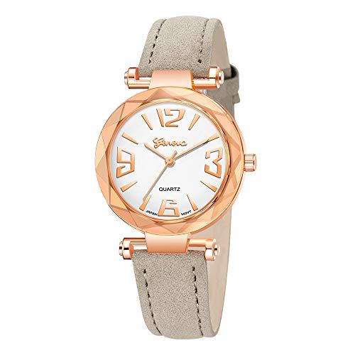 Caerling Damen Minimalistisches Uhr Einzigartig Uhren Damenuhr Modische Leder Band Analog Quarz Damenuhren Legierung Moderne Uhrenarmband