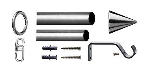 Tilldekor ausziehbare Gardinenstange PALMA, edelstahl optik, Ø 16/19 mm, 1-Lauf, 200 - 350 cm, inkl. Trägern und Ringen