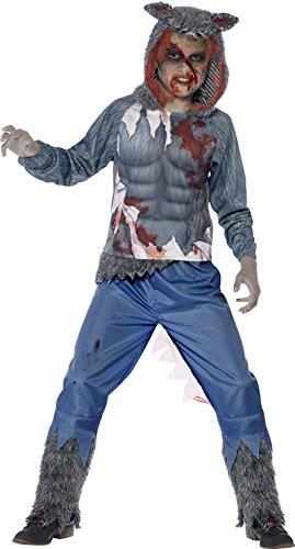 Smiffys Kinder Jungen Wolf Krieger Deluxe Kostüm, Oberteil mit Kapuze und Sublimationsaufdruck und Hose, Größe: T (Alter 12+ Jahre), 44296