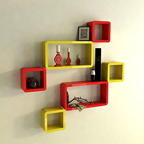 DecorNation Wall Shelf Set of Six Cube Rectangle Designer Wall Rack Shelves - Red & Yellow