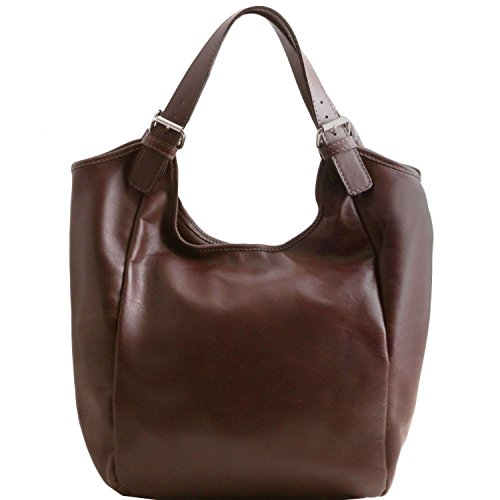Tuscany Leather - Gina - Sac hobo en cuir New Size - Marron foncé