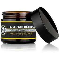 Spartan Beard Balm (60ml)-Leave-In Conditioner para hombres, reduce Frizz, RIZOS y las puntas abiertas-Macht pelos suave y Combate piel seca-Cera de abejas y mandelöl