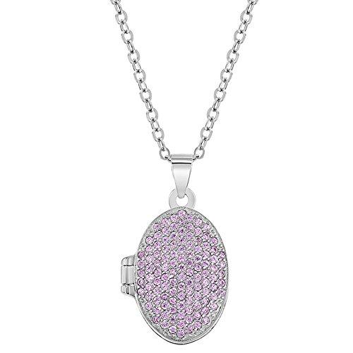 5Sterling Silber Zirkonia oval pink Medaillon für Mädchen Foto Halskette 40,6cm ()
