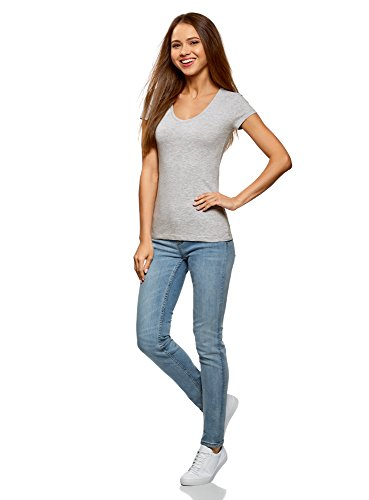 oodji Collection Damen T-Shirt mit V-Ausschnitt Grau (2000M)